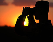 Field Glasses Prints - U.s. Army Specialist Scans The Horizon Print by Stocktrek Images