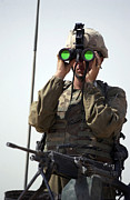Field Glasses Prints - U.s. Army Specialist Uses Binoculars Print by Stocktrek Images