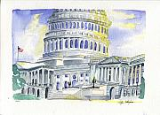 4th July Painting Posters - US Capital Poster by Rodger Ellingson