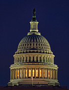Us Capital Framed Prints - U.S. Capitol at Night Framed Print by Nick Zelinsky
