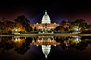 National Mall Framed Prints - US Capitol Building and Reflecting Pool at Fall Night 1 Framed Print by Val Black Russian Tourchin