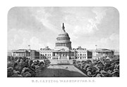 Us Capital Mixed Media Framed Prints - US Capitol Building Washington DC Framed Print by War Is Hell Store