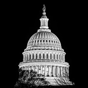 United States Capitol Dome Posters - US Capitol Dome in Black and White Poster by Val Black Russian Tourchin