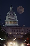 Governmental Framed Prints - U.s. Capitol With Moon, Night View Framed Print by Richard Nowitz