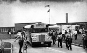 Police Dog Prints - Us Civil Rights. School Bus Leaving Print by Everett
