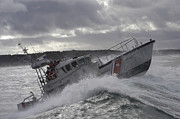 Two Waves Photos - U.s. Coast Guard Motor Life Boat Brakes by Stocktrek Images