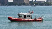 Colorful Photos Originals - US Coast Guard Small Boat St. Clair River Michigan USA by Paul Cannon