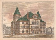 Legal Painting Posters - US Court House and Post Office. Covington Kentucky 1876 Poster by William Potter