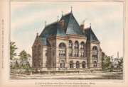 Rapids Painting Framed Prints - U.S. Court House and Post Office. Grand Rapids Michigan 1876 Framed Print by W M A Potter