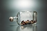 Coin Prints - Us Dollar Banknotes   In A Bottle Print by Yuji Sakai