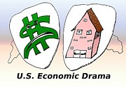 News Mixed Media - US Economic Drama cartoon by OptionsClick BlogArt