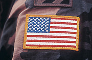 Sewn Framed Prints - Us Flag Patch Sewn Onto Uniform Framed Print by Stocktrek Images
