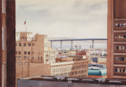 Bay Bridge Painting Metal Prints - US Grant Hotel in San Diego Metal Print by Mary Helmreich