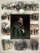 General Ulysses Grant Framed Prints - US Grants Career In Pictures Framed Print by War Is Hell Store