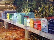 Boxes Paintings - US Mail San Francisco by Roelof Rossouw
