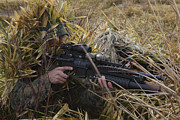 Ghillie Suits Prints - U.s. Marine Aims In On Target Print by Stocktrek Images