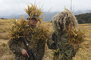 Ghillie Suits Prints - U.s. Marine And Japanese Sniper Await Print by Stocktrek Images