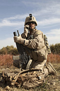 On The Phone Prints - U.s. Marine Communicates Print by Stocktrek Images