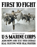 War Propaganda Digital Art Metal Prints - US Marine Corps First To Fight  Metal Print by War Is Hell Store