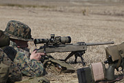 Rifle Sight Prints - U.s. Marine Fires His M40a3 7.62mm Print by Stocktrek Images