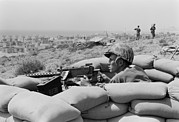 Sand Bags Prints - Us Marine In A Foxhole In Beirut Print by Everett