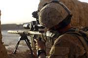 Ledge Photos - U.s. Marine Looks Through The Scope by Stocktrek Images