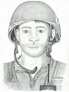 Marines Drawings Prints - U.S. Marine Sgt. Afghanistan Print by Sharon Blanchard