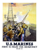 World War 1 Posters - US Marines -- First To Fight For Democracy Poster by War Is Hell Store