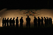 Silence Of Night Prints - U.s. Marines Bowing Their Heads Print by Stocktrek Images