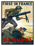Semper Fidelis Posters - US Marines First In France Poster by War Is Hell Store
