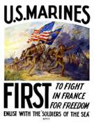 Recruiting Framed Prints - US Marines First To Fight In France Framed Print by War Is Hell Store