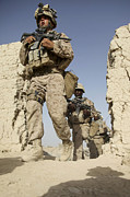 Foot Patrol Photos - U.s. Marines Leaving Their Forward by Stocktrek Images