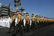 Man The Rails Prints - U.s. Marines March In Formation To Move Print by Stocktrek Images