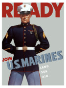 Vintage Digital Art Metal Prints - US Marines Ready Metal Print by War Is Hell Store