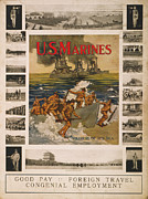 1910s Poster Art Posters - U.s. Marines Recruitment Poster Showing Poster by Everett