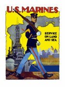 History Framed Prints - U.S. Marines Service On Land And Sea Framed Print by War Is Hell Store