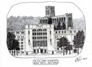 College Buildings Drawings Mixed Media Originals - US Military Academy at West Point NY by Frederic Kohli