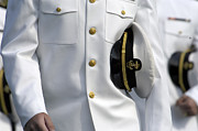 Caps Posters - U.s. Naval Academy Midshipman In Dress Poster by Stocktrek Images