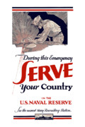 Navy Digital Art Prints - US Naval Reserve Serve Your Country Print by War Is Hell Store
