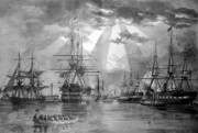 Sailing Ship Prints - U.S. Naval Ships at The Brooklyn Navy Yard Print by War Is Hell Store