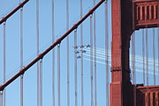 Jets Photos - US Navy Blue Angels Beyond The San Francisco Golden Gate Bridge - 5D18956 by Wingsdomain Art and Photography