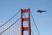 Jets Photos - US Navy Blue Angels Crossing The San Francisco Golden Gate Bridge - 5D18943 by Wingsdomain Art and Photography