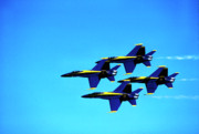 Formation Flying Posters - US Navy Blue Angels flight demonstration team in FA 18 Hornets Poster by Thomas R Fletcher