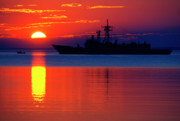 Armed Forces Prints - US Navy Destroyer at Sunrise Print by Thomas R Fletcher