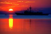 Us Navy Destroyer At Sunrise Print by Thomas R Fletcher