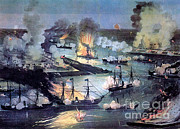 Confederate Flag Framed Prints - U.s. Navy Destroys Rebel Gunboats Framed Print by Photo Researchers
