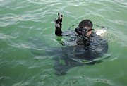 Head Above Water Posters - U.s. Navy Diver Signals Before Diving Poster by Stocktrek Images