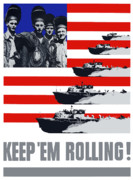Us Navy Framed Prints - US Navy Keep Em Rolling Framed Print by War Is Hell Store