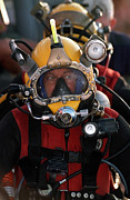 Diving Helmet Prints - U.s. Navy Officer Wears The Mk-21 Mod Print by Stocktrek Images