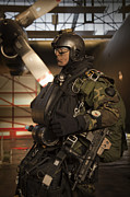 Three-quarter Length Posters - U.s. Navy Seal Combat Diver Prepares Poster by Tom Weber